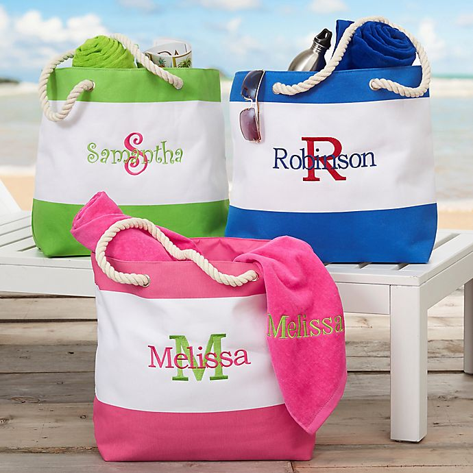Alternate image 1 for All About Me Embroidered Beach Tote