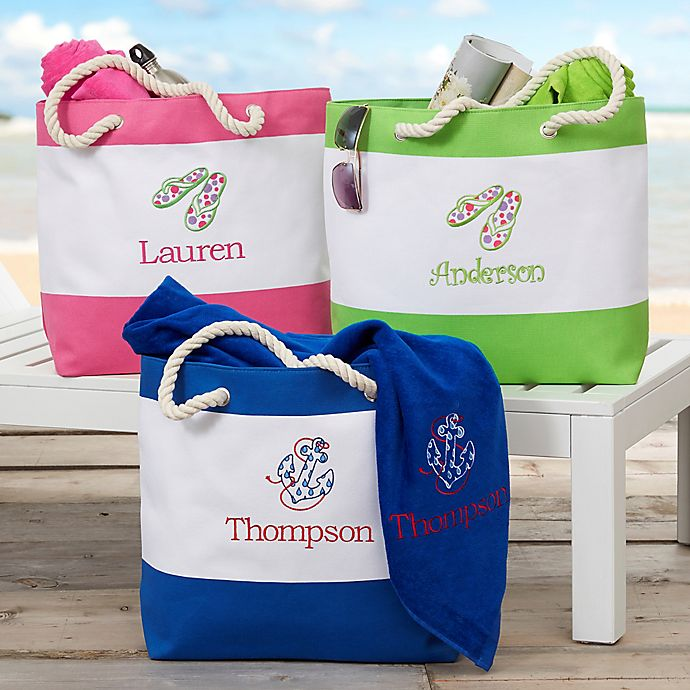 Alternate image 1 for Beach Fun Embroidered Personalized Beach Tote