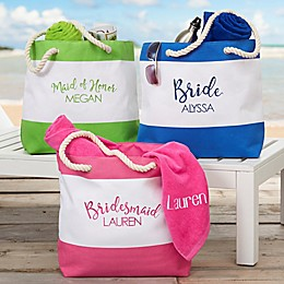 Bridal Party Embroidered Beach Tote