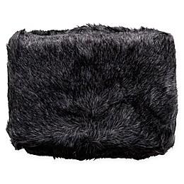 Surya Asena Faux Fur Throw Blanket in Black/Silver Grey