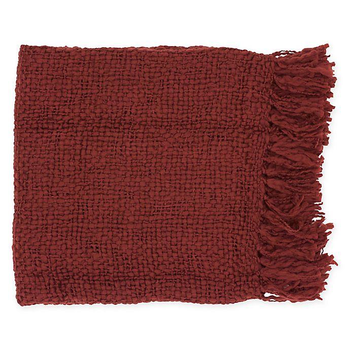 Alternate image 1 for Surya Tobias Throw Blanket in Garnet