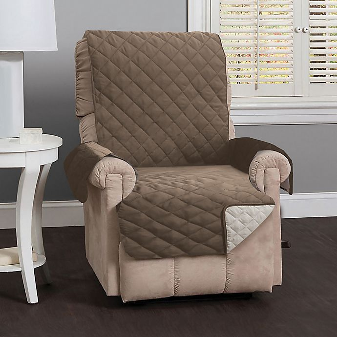 Alternate image 1 for Great Bay Home Kaylee Reversible Quilted Recliner Cover in Linen