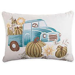 Harvest Truck Rectangular Throw Pillow in Blue