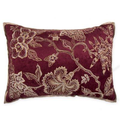 Jacobean Embroidered Velvet Rectangular Throw Pillow In