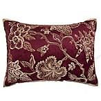 Jacobean Embroidered Velvet Rectangular Throw Pillow in Burgundy