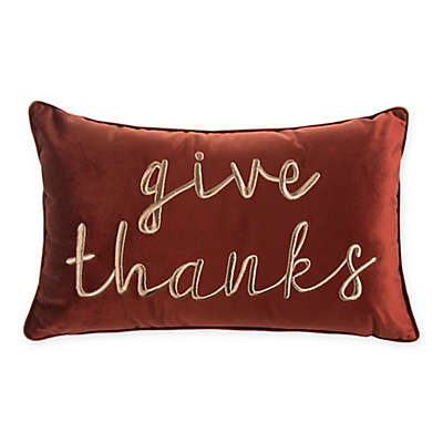 Give Thanks Rectangular Throw Pillow in Rust