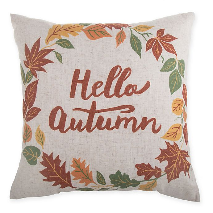 Alternate image 1 for Hello Autumn Wreath Square Throw Pillow in Natural