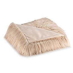 Flokati Faux Fur Throw Blanket in Ivory/Gold
