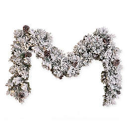 Flocked and Glittery 6-Foot Pre-Lit Garland with LED Lights (Set of 2)