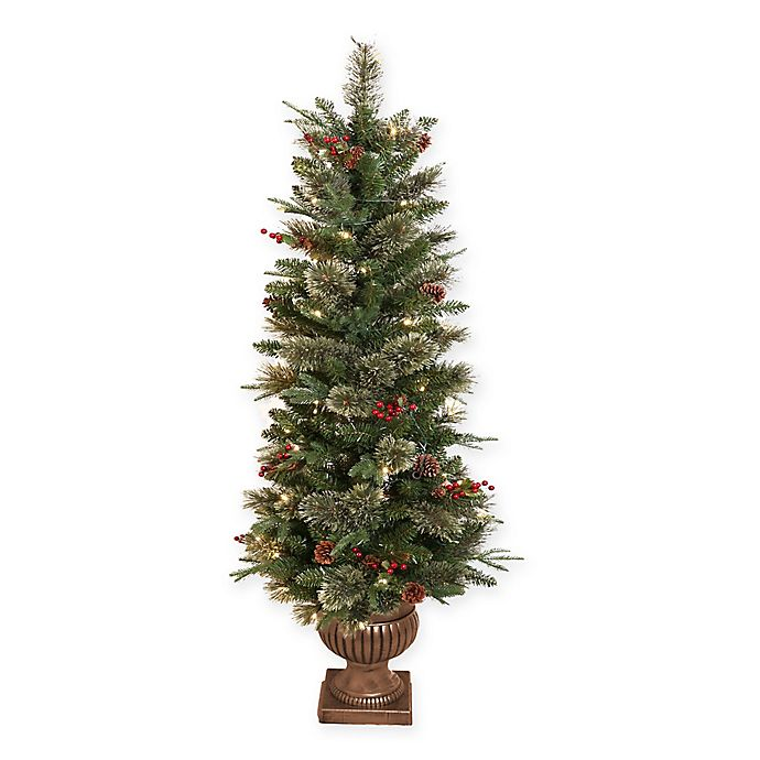 Cashmere Pine 5-Foot Pre-Lit Potted Christmas Tree with LED Lights | Bed Bath & Beyond