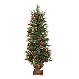 cashmere pine 5 foot pre lit potted christmas tree with led lights