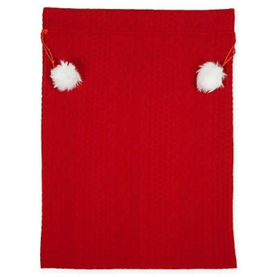 18-Inch Fabric Drawstring Gift Bag in Red