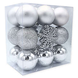 Shatterproof 26-Pack Christmas Ornaments in Silver