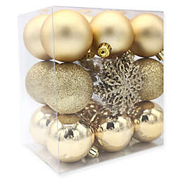 Shatterproof 26-Pack Christmas Ball Ornaments in Gold