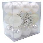 Shatter-Resistant Christmas Ornaments in White (Set of 26)