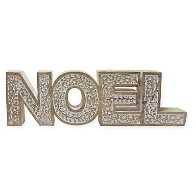 Hand-carved Wooden 17-Inch Noel Sign in Brown/White