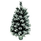 Flocked Pine 2-Foot Artificial Christmas Tree with Base