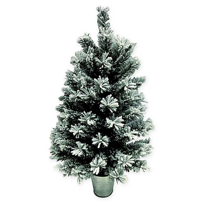Alternate image 1 for Flocked Pine 2-Foot Artificial Christmas Tree with Base