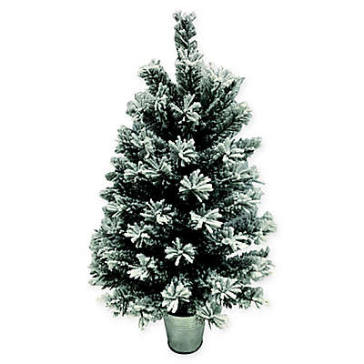 Flocked Pine  Foot Artificial Christmas Tree With Base