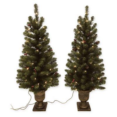 Pine Pre Lit 4 Foot Porch Artificial Christmas Trees Set