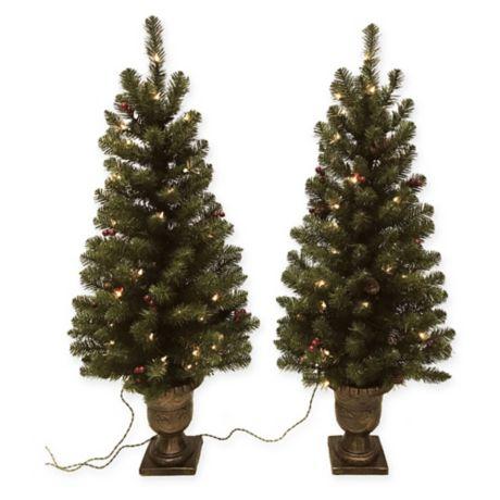 Winter Wonderland 4-Foot Pre-Lit Entrance Christmas Trees (Set of 2) | Bed Bath & Beyond