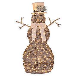 pre lit rattan 4 foot christmas snowman decoration