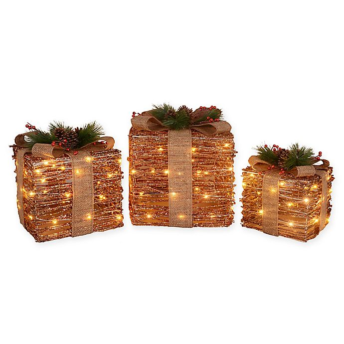 Led Decorative Ruby Rattan Gift Boxes Set Of 3 Bed Bath And