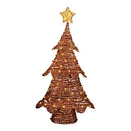 Pre-Lit 4-Foot Rattan Christmas Tree in Red/Natural