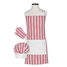 Handstand Kitchen Kid's 3-Piece Classic Apron Set in Red/White