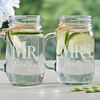 Mr. & Mrs. 2-Piece Glass Mason Jar Set.