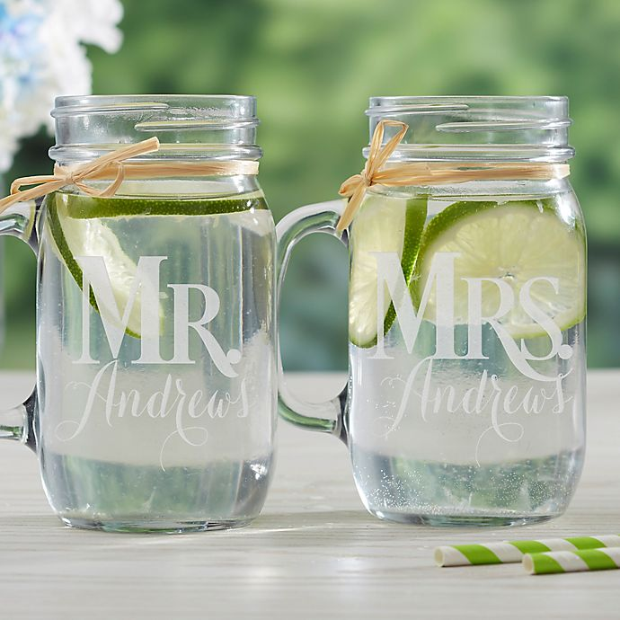 Alternate image 1 for Mr. & Mrs. 2-Piece Glass Mason Jar Set