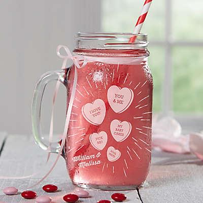 Conversation Hearts Glass Mason Jars