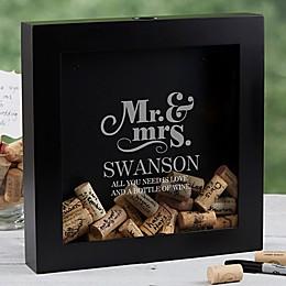 The Happy Couple Wine Cork Shadow Box