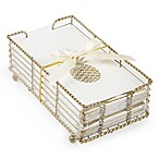 Pineapple Paper Guest Towels with Caddy in Gold (Set of 32)