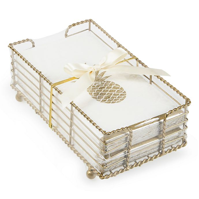 Pineapple Paper Guest Towels With Caddy In Gold Set Of 32