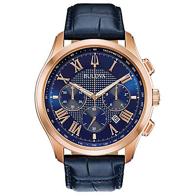 Bulova Classic Collection Men's 46.5mm Wilton Watch in Stainless Steel with Blue Strap