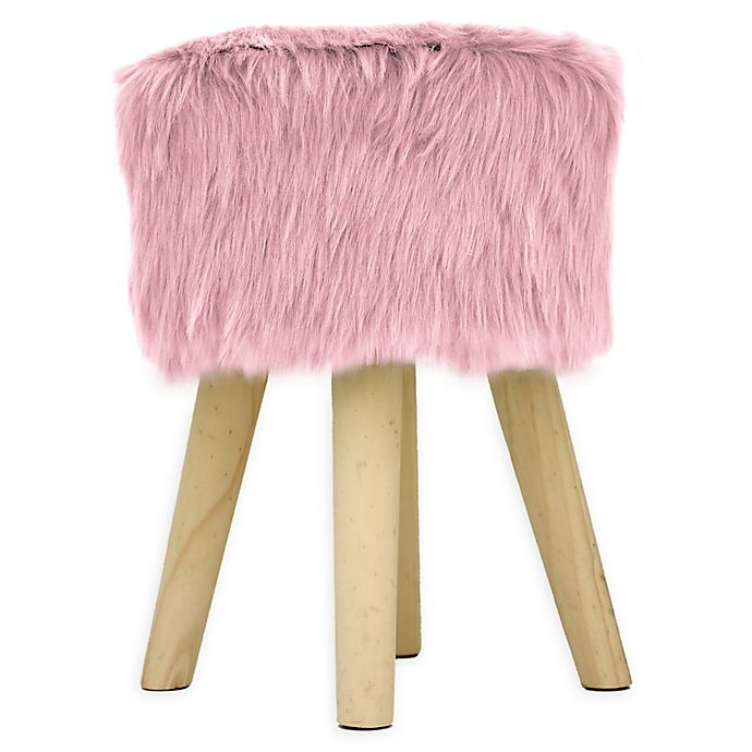 Alternate image 1 for American Kids Faux Fur Upholstered Ottoman