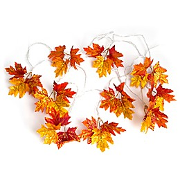 Loft Living 10-Foot LED Fabric Harvest Leaves String Lights in Orange