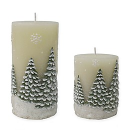 Christmas Tree Pillar Candle in White