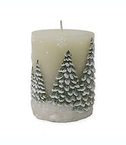 Vela pilar navideña de 7.62 x 10.16 cm en blanco