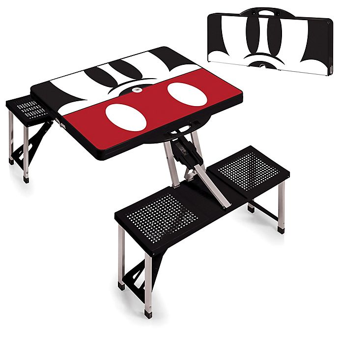 Alternate image 1 for Picnic Time® Disney® Mickey Mouse Picnic Folding Table with Seats in Black
