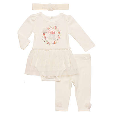 Baby Starters® 3-Piece Long Sleeve Bodysuit, Pant and Headband Set in Ivory