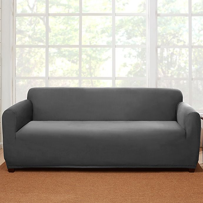 Alternate image 1 for Sure Fit® Stretch Suede Sofa Slipcover in Grey