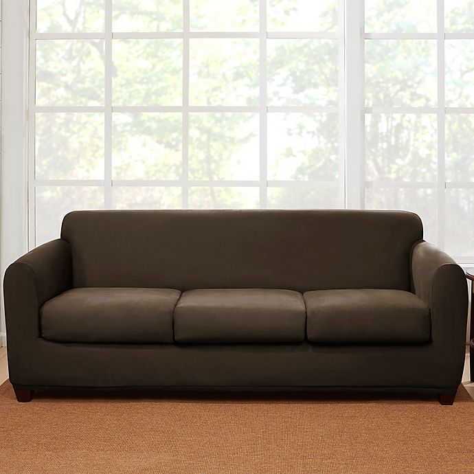Sure Fit® 4-Piece Stretch Suede Sofa Slipcover | Bed Bath & Beyond