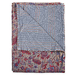 Taj Hotel Kantha Oversized Throw Blanket in Beige/Red