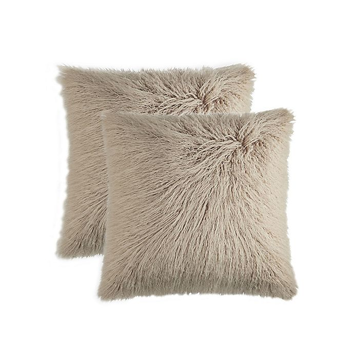 Alternate image 1 for Frisco Mongolian Faux Fur Square Throw Pillows in Tan (Set of 2)