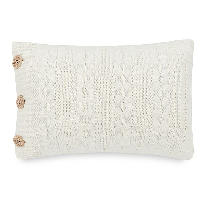 Alternate image 1 for UGG® Bailey Button Oblong Throw Pillow in Snow
