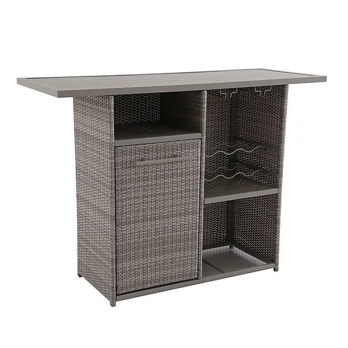 Wicker Storage Bar In Oyster