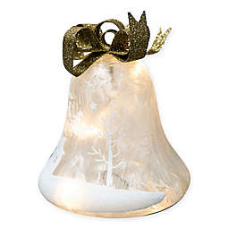 11-Inch Pre-Lit LED Frosted Glass Bell in Gold/White