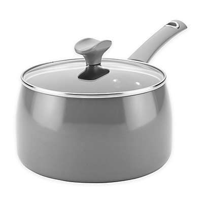 Rachael Ray™ Cityscapes Porcelain Enamel 3 qt. Covered Saucepan in Grey